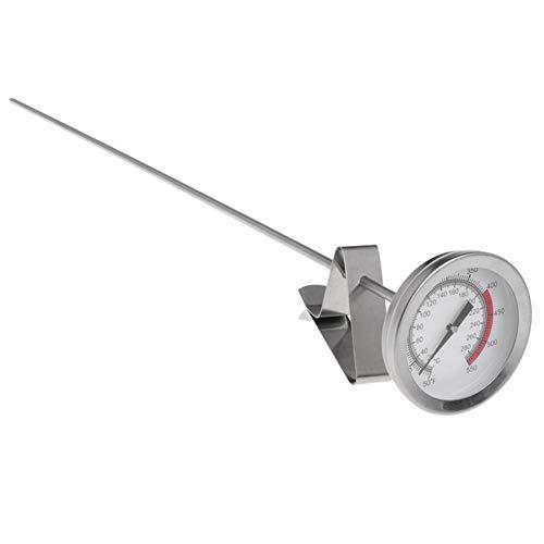 BASOYO Termómetro para sartén Termómetro de Aceite de Alta Temperatura Termómetro para Hacer Dulces de Acero Inoxidable 304 de Grado alimenticio con Clip Fijo