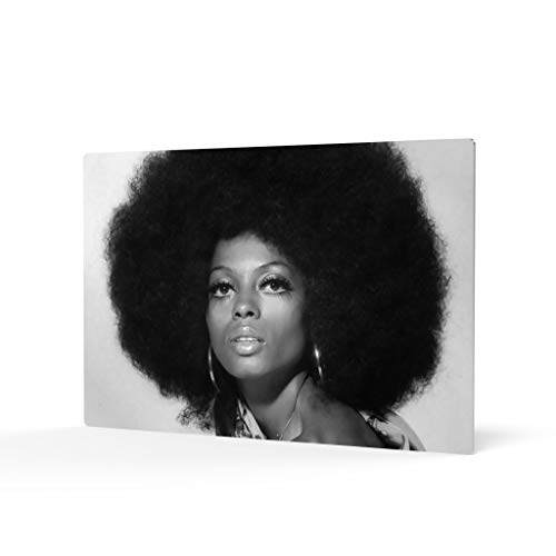 HB Art Design Diana Ross in Afro Head Black and White Metal Wall Art Print Beautiful African American Art Icon Artwork Living Room Bedroom Decor Metal Wall Decor Home Decor Made in USA 11x17