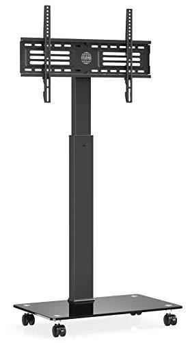 FITUEYES Supporto TV, Mobile TV, con Ruote, con Staffa in Vetro, Girevole, Regolabile in Altezza, da 32 a 65 pollici LCD LED, Porta TV, Portata Max 40kg, TT107505MB