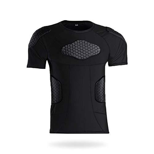 Camisas Deportivas contra la colisión Camisetas de compresión Pastillas de Hombro Protección de la Cintura Capacitación de Manga Corta Hombres Chaleco Deportivo Pant Short Sleeves-M