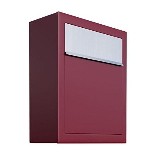 Briefkasten, Design Wandbriefkasten Base Rot/Edelstahlklappe - Bravios