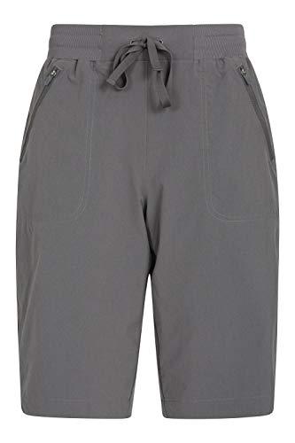 Mountain Warehouse Explorer pantalón Corto Mujer - Pantalones Cortos con Bolsillos de Cremallera, pantalón con cordón, Ligeros - para el Exterior, Caminatas, Invierno Gris Oscuro 40