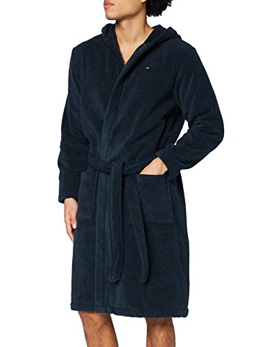 Tommy Hilfiger Herren Icon hooded bathrobe Bademantel, Blau (NAVY BLAZER-PT 416), L