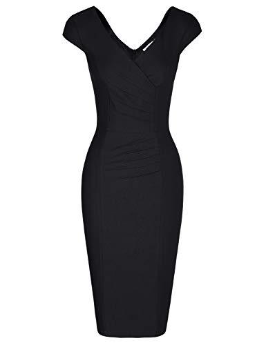 MUXXN Ladies Celebrity Vintage Cap Sleeve Tea Length Special Occasion Dress (Black XL)