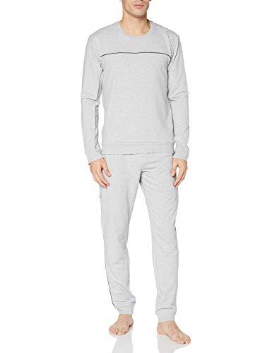 Schiesser Herren Sleep + Lounge Schlafanzug lang Pyjamaset, grau-Mel, 48