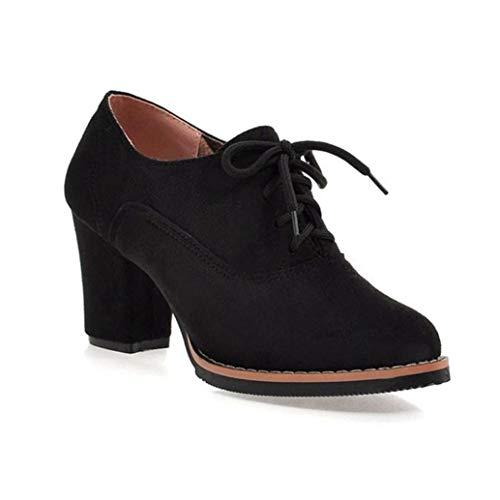 Frauen Block Heel Oxford Schuhe Mode Round Toe Courts Schuhe Büro Karriere Schnürpumps Casual High Heels