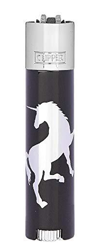 HIBRON Clipper 1 Encendedor Mechero Clásico Grande Metal CP11RH Diseño Unicornio Cabezal Plateado + 1 Llavero Gratis