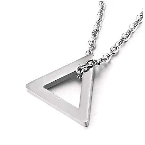 COOLSTEELANDBEYOND Acciaio Lucido Aperto Triangolo Ciondolo, Collana con Pendente Orecchini da Donna, 45CM Corda Catena
