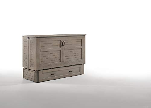 Night & Day Furniture Poppy Brushed Driftwood with Mattress Murphy Cabinet Bed, Queen,