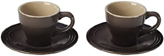 Le Creuset Stoneware Espresso Cups and Saucers, Set of 2, Truffle