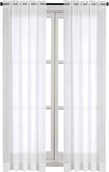 Utopia Bedding 20 Pack Premium White Sheer Curtains Sheer Voile White Luxurious High Thread Window Curtains 2 Panel Set 54 By 84 Inches