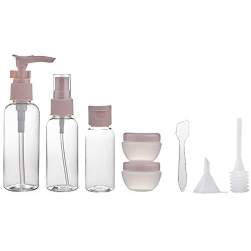 Minkissy 8Pcs Reise Make-Up Flaschen Kit Tragbare Lotion Flüssigkeitspumpe Spender Körperlotion Shampoo Creme Gläser Toilettenartikel Flaschen mit Trichter Dropper Stick