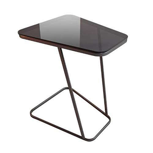 Mesa de Centro Mesa Auxiliar Mesa Centro Pequeña mesa en forma de C del sofá del acero de carbono, tabla de lectura de cristal moderada del café del balcón del dormitorio de la sala de estar, los 52 *