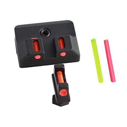 MUJING Faseroptische Visiere vorne und hinten mit rot/grünem Punkt, die Nachtsichtfernrohr für Glock jagen