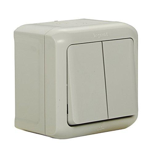 Legrand 782381 Forix - Interruptor doble montado en superficie a prueba de humedad A prueba de salpicaduras (IP44), Se monta en la pared - Blanco estándar
