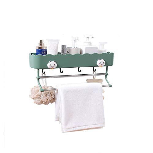 JIANFCR Adhesivo Cuarto De Baño Estante De Almacenamiento Organizador, con Toalla Bar Ganchos Estante De Baño Montado En Pared Cocina Almacenamiento Cesta Estantes para Baño Cocina (2 Piezas) Verde