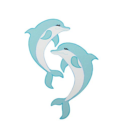 AniPolDesign HANDARBEIT aus Hamburg 2 Delfine MOTIV zum Gestalten einer Schultüte Zuckertüte Geschwistertüte 2 Delphine in Hellblau Jungen Mädchen exklusiv