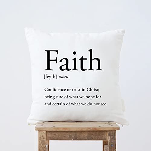 BRILLON Faith Definition - Fundas de almohada de 45,7 x 45,7 cm, funda de cojín cuadrada para decoración del hogar, sala de estar, sofá
