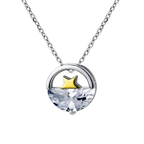 VIILOCK Star Sink to Sea Pendant Necklace Sterling Silver Clavicle Chain Necklace for Women