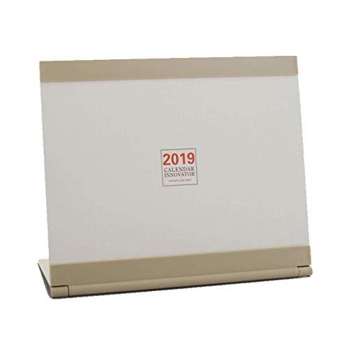 2019 Nuevo Calendario Vertical Plan Familiar Calendario Calendario de Escritorio de Oficina Conjunto de Calendario de Escritorio Decorativo Simple (Color : Beige)