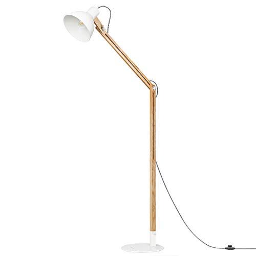 Tomons lámpara de pie, Cabeza ajustable, madera de goma de la naturaleza, 8W luz blanca caliente del LED, lámpara de 40W E27, 57.8'altura conveniente para la sala de estar, dormitorio-FL1001