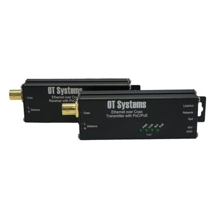 OT4 – OT SYSTEMS ET1100CP-R-MT MICROTYP Receiver of 10/100Base-TX Ethernet Over Coax, PoE & PoC, 500 m