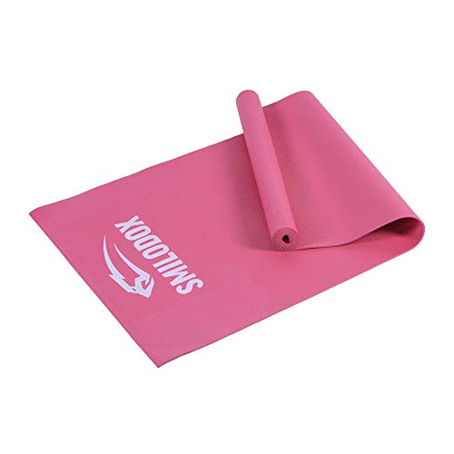 SMILODOX Yoga Matte - Extra Flache 5mm Matte - Ideales Trainingsgerät fürs Homeworkout, Yoga & Pilates, Color:Pink
