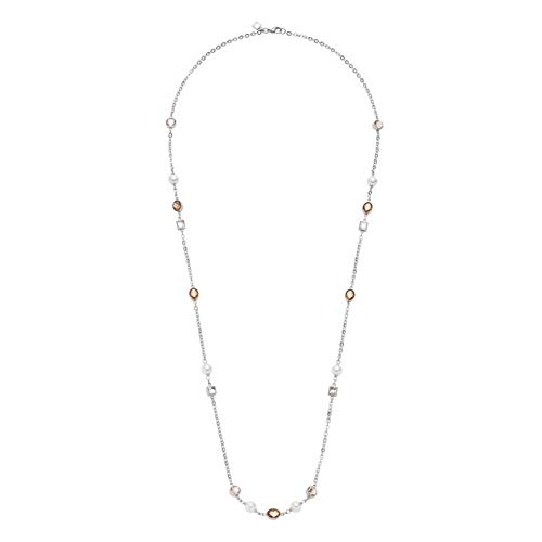 Jewels by Leonardo Damen-Halskette Firenze, Edelstahl mit facettierten Glassteinen & Imitationsperlen, Clip & Mix System, Länge 900 mm, 016657