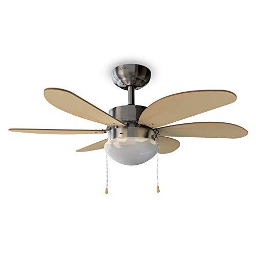 Cecotec Ventilador de Techo con Luz EnergySilence Aero 350. 50 W, Bajo consumo, 81 cm de Diámetro, 6 Aspas Reversibles, 3 Velocidades, Función Invierno, Acabado en blanco/madera