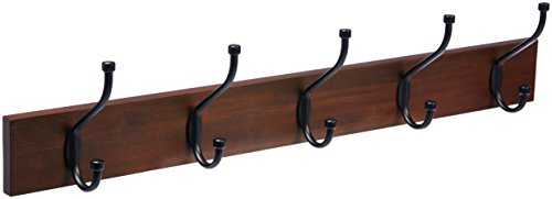 AmazonBasics Wall-Mounted Farmhouse Coat Rack, 5 Standard Hooks, Light Walnut
