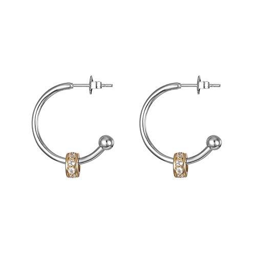 Pendientes de aro de circonita cúbica para mujer Semicírculo 925 Pendientes redondos de plata y oro Joyería de moda