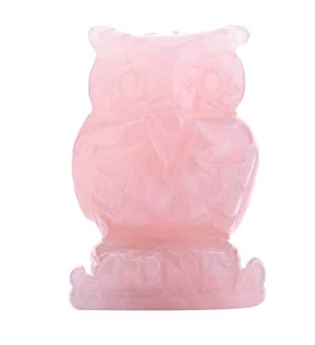 ACEACE 1,5 Pulgadas de Piedra Natural de Cuarzo Rosa búho Figuras Mini Animales Craft Mineral Tallado Curación Cristales Estatua for niños Decoración for el Hogar