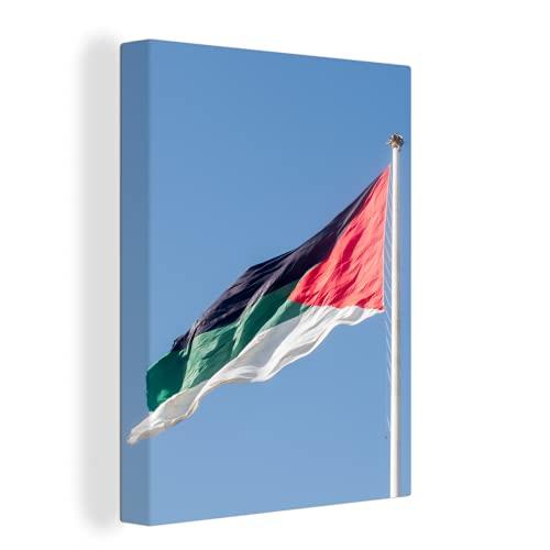 Leinwandbild - Flagge von Jordanien im Wind - 90x120 cm