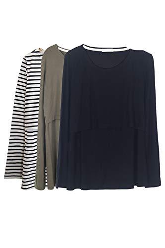 Smallshow Mujer Top Camiseta Premamá Lactancia De Manga Larga 3 Pack,Army Green/Black/White...