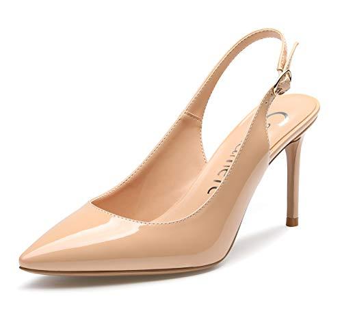 CASTAMERE Damen Slingback High Heels Spitzen Zehen Pumps Ankle-Strap Sandalen Stilettos 8.5CM Lackleder Nackt Schuhe EU 38