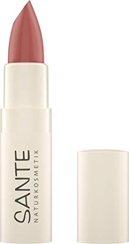 SANTE Naturkosmetik Moisture Lipstick 01 Rose Pink, Lippenstift, Transparente bis intensive Farben, Mit Hyaluronsäure, Zart pflegend & sanft schützend, 4,5g