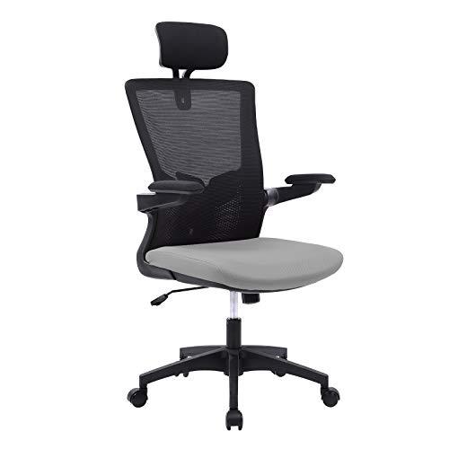 Bosmiller Ergonomische Bürostühle Atmungsaktiver Bürostuhl aus Mesh mit hoher Rückenlehne Verstellbare Kopfstütze und Lordosenstütze mit klappbaren Armen Kippfunktion Computer-Schreibtischstuhl