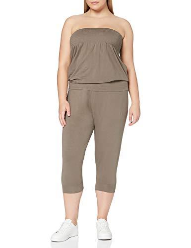 Urban Classics Damen Ladies Shoulderfree Capri Jumpsuits, Grau (Stone 372), Large