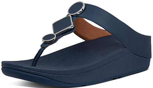 FitFlop Women's Leia Leather Toe-Thongs Midnight Navy 8
