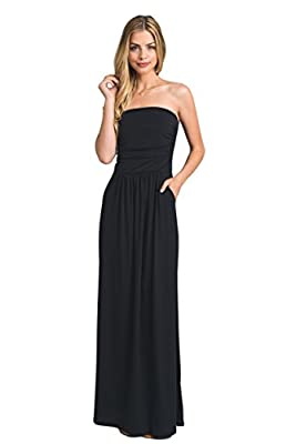 Vanilla Bay Womens Strapless Solid Maxi Dress with Pockets