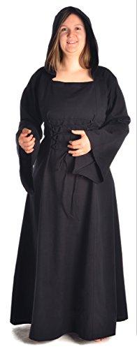 HEMAD Damen Mittelalter Kleid zum Schnüren mit Gugel schwarz XL