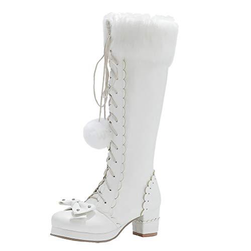 Birdsight Damen Cosplay Lolita Schuhe Kniehohe Stiefel mit Blockabsatz und Plateau Knee High Boots zum Schnüren Rockabilly Shoes (Weiss, 41)