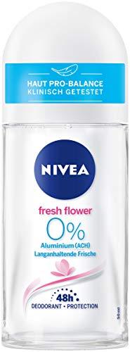 NIVEA Fresh Flower Deo Roll On (50 ml), Deo ohne Aluminium (ACH) mit frischem Blumenduft und antibakteriellem Schutz, pflegendes 48h Deodorant