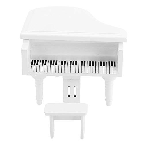 ViaGasaFamido Muebles de casa de muñecas, 1:12 Mini Piano de Cola de Madera de simulación con Taburete 3,7 x 3,7 x 3 Pulgadas Accesorio de decoración de casa de muñecas(Blanco)