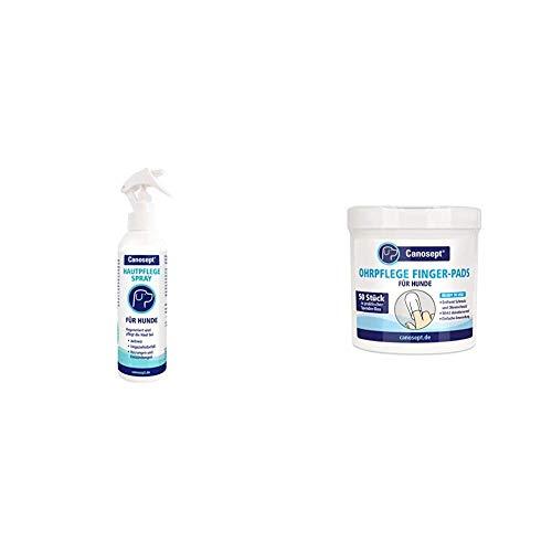 Canosept Hautpflegespray für Hunde 250ml - Regeneriert die Haut bei Juckreiz & Ohrpflege Finger-Pads für Hunde 50 Stück - Fingerlinge zur praktischen & intutiven Reinigung