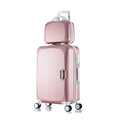 2Pcs/Sets Kids Travel Suitcase with Wheels Trolley Case Rolling Pink Luggage Set Girls Suitcases Cosmetic Bag 14 Inch Rose Gold A Set 24'