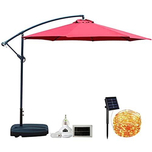 QAQWER Sombrilla Jardin 3m Parasol Excéntrico Sombrilla Voladiza con Luz LED Solar de Control Remoto se Puede Utilizar Tanto en Días Soleados como Lluviosos para Patios Jardines