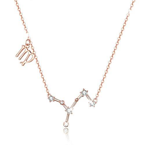 Collar de plata de ley 925 con colgante de horóscopo Virgo de 12 constelaciones de constelaciones