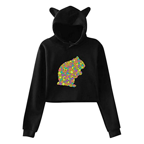 engzhoushi Sudadera con Capucha Mujer, Women's Long Sleeve Print Cute Cat Ear Pullover Hoodie Hamster Flower Casual Tops