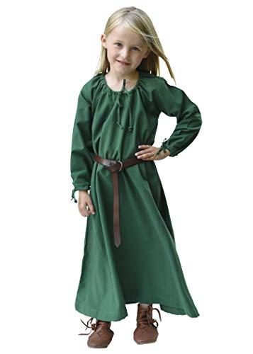 Battle-Merchant Kinder Mittelalterkleid Ana für Mädchen, Langarm, bodenlang, Baumwolle, Mittelalter Gewandung, grün, Gr. 164